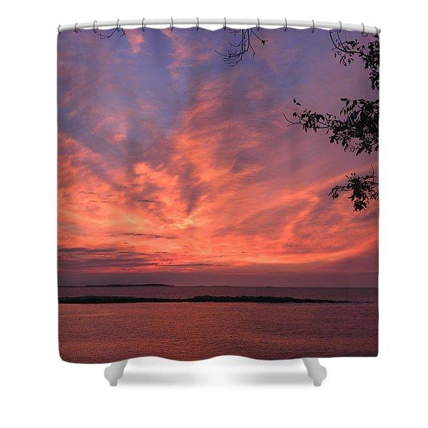 Muscongus Sound Sunrise Shower Curtain