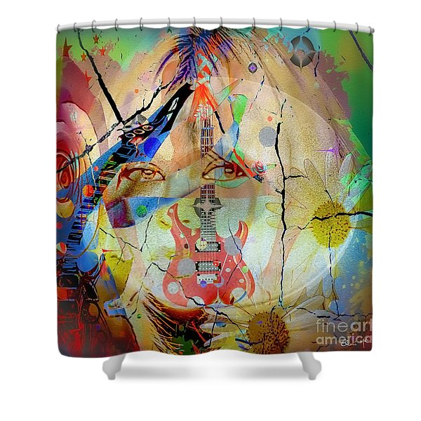 Shower Curtain featuring the digital art Music Girl by Eleni Mac Synodinos