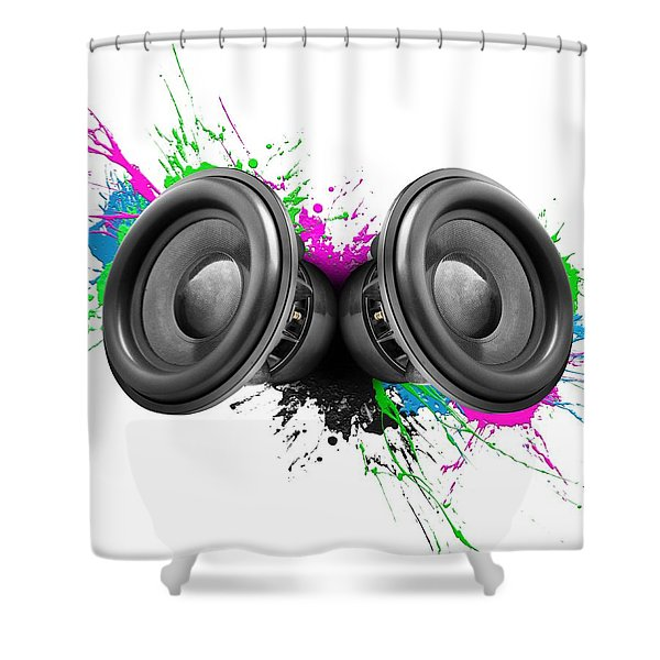Music Speakers Colorful Design Shower Curtain
