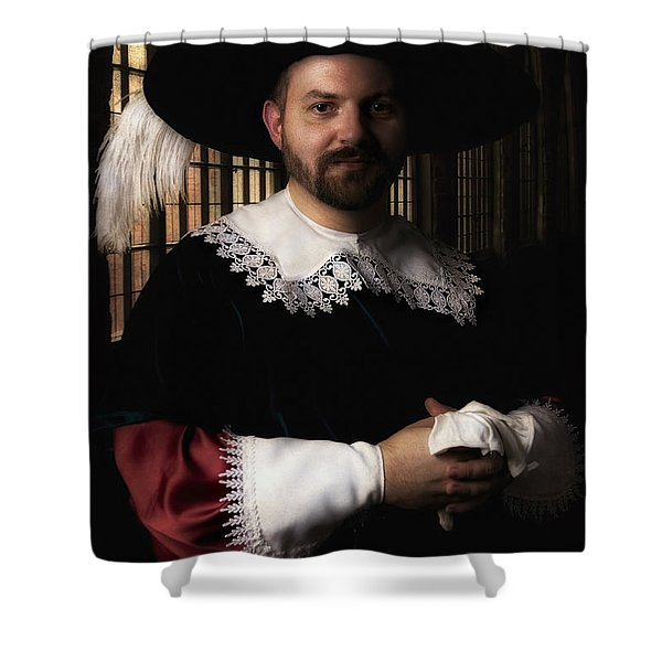 Shower Curtain featuring the photograph Musketeer In The Old Castle Hall by Jaroslaw Blaminsky