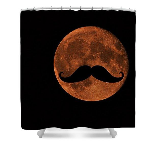 Mustache Moon Shower Curtain