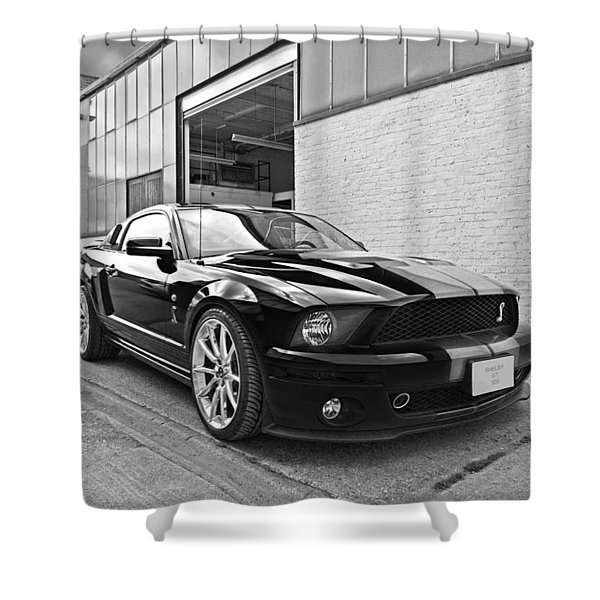 Mustang Alley In Black And White Shower Curtain
