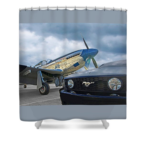 Mustang Gt With P51 Shower Curtain