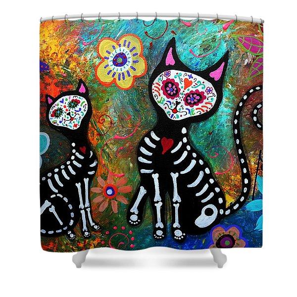My Cats Dia De  Los Muertos Shower Curtain