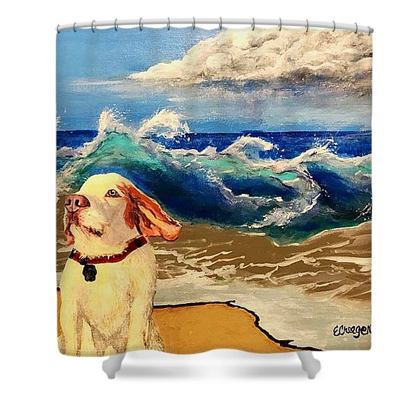 My Dog And The Sea #1 - Beagle Shower Curtain