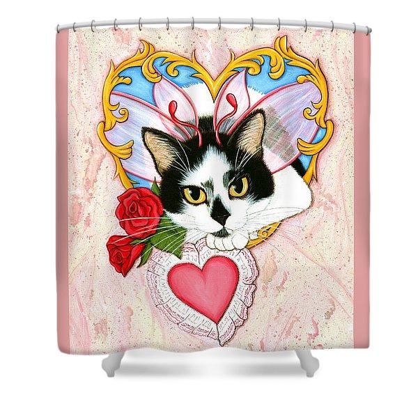 My Feline Valentine Tuxedo Cat Shower Curtain