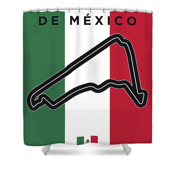 My Gran Premio De Mexico Minimal Poster Shower Curtain