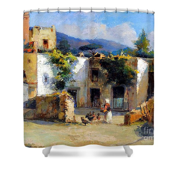 Shower Curtain featuring the painting My Uncle Farm House by Rosario Piazza