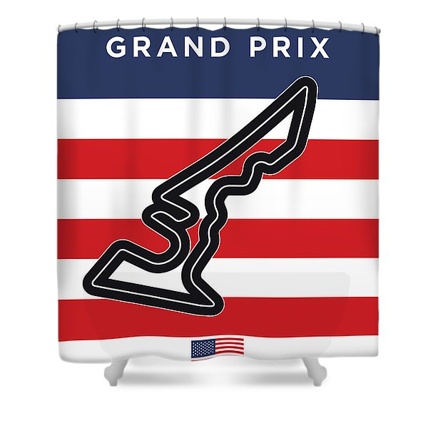 My United States Grand Prix Minimal Poster Shower Curtain