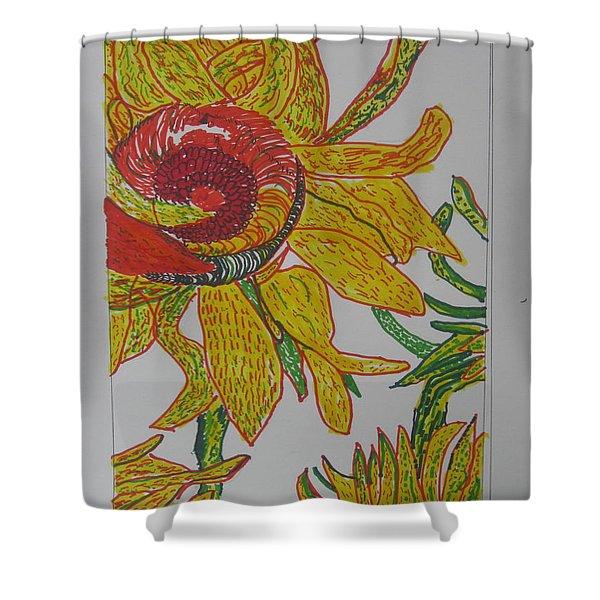 My Version Of A Van Gogh Sunflower Shower Curtain