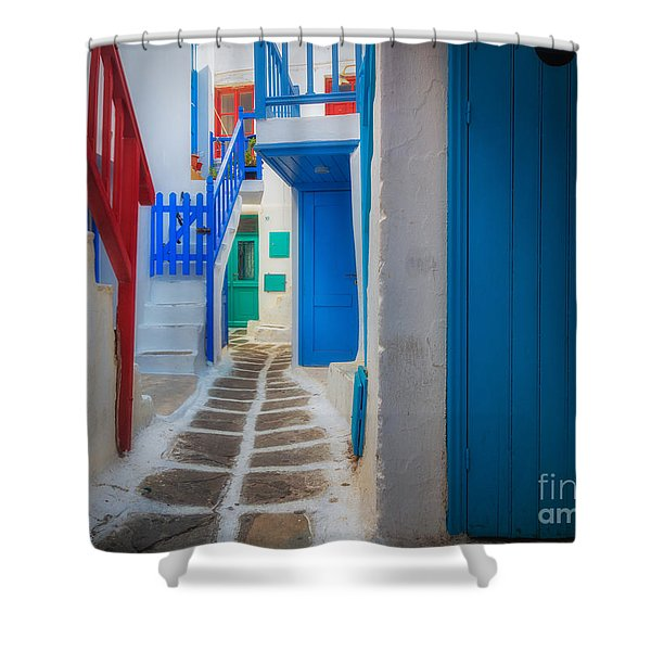 Mykonos Alley Shower Curtain