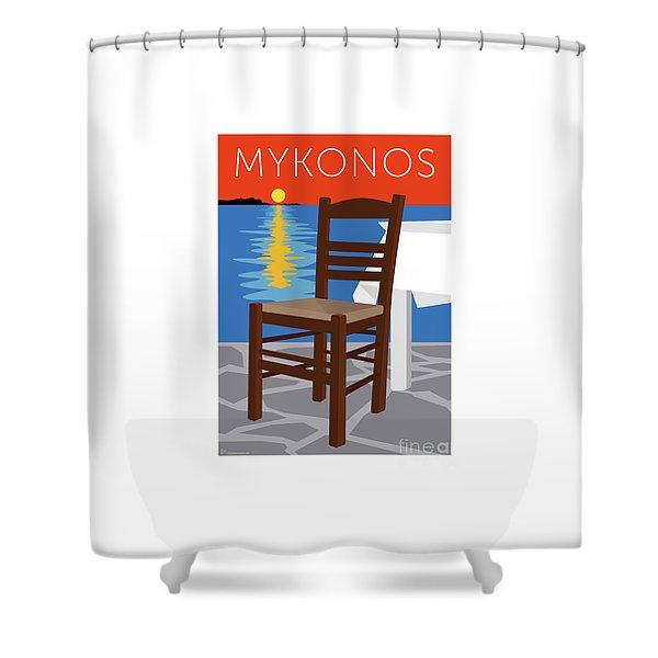 Shower Curtain featuring the digital art Mykonos Empty Chair - Orange by Sam Brennan