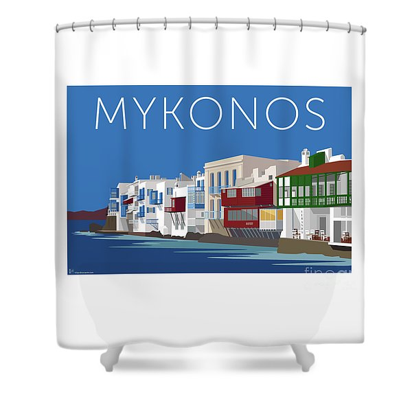 Mykonos Little Venice - Blue Shower Curtain