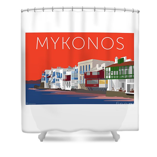 Mykonos Little Venice - Orange Shower Curtain