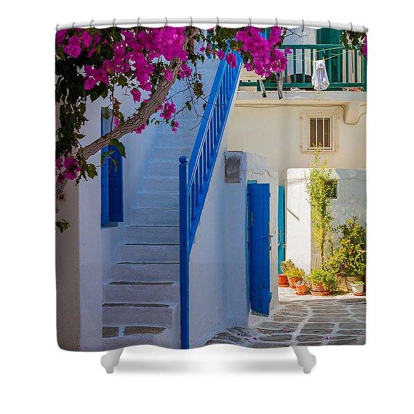 Mykonos Staircase Shower Curtain