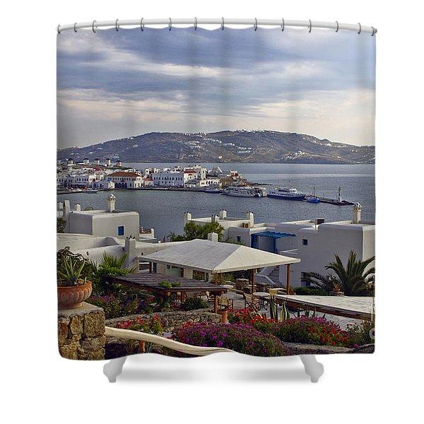 Mykonos View Shower Curtain