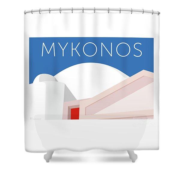 Shower Curtain featuring the digital art Mykonos Walls - Blue by Sam Brennan