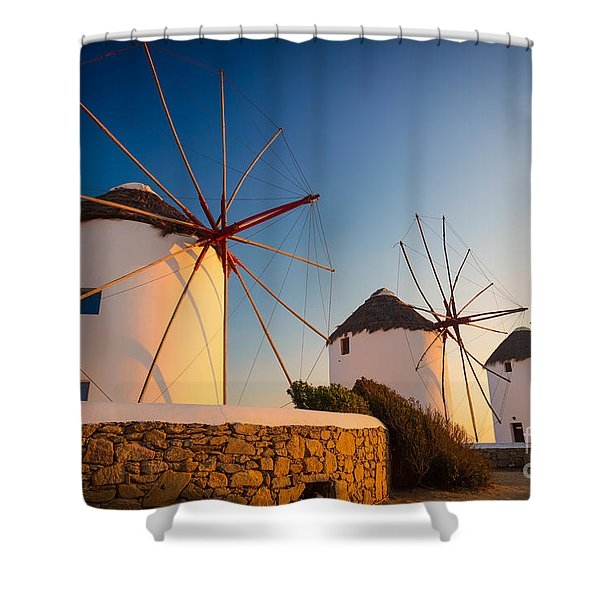 Mykonos Windmills Shower Curtain