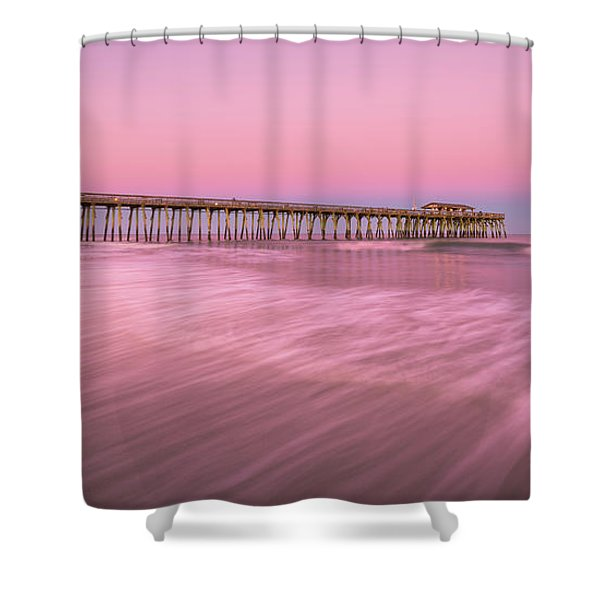 Shower Curtain featuring the photograph Myrtle Beach Fishing Pier At Sunset Panorama by Ranjay Mitra