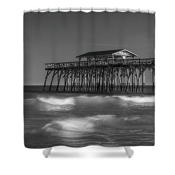 Shower Curtain featuring the photograph Myrtle Beach Pier Panorama In Black And White by Ranjay Mitra