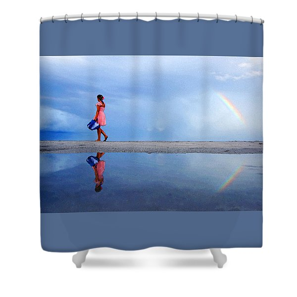 Mysterious Rainbow Girl Shower Curtain