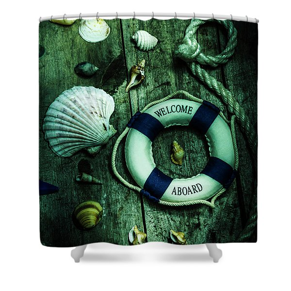 Mystery Aboard The Sunken Cruise Line Shower Curtain