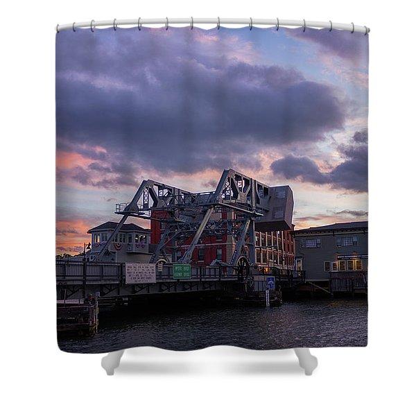 Mystic Bridge Sunset 2016 Shower Curtain