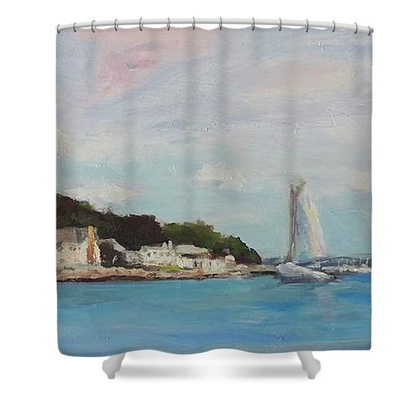 Mystic River Inlet Mystic Ct Shower Curtain