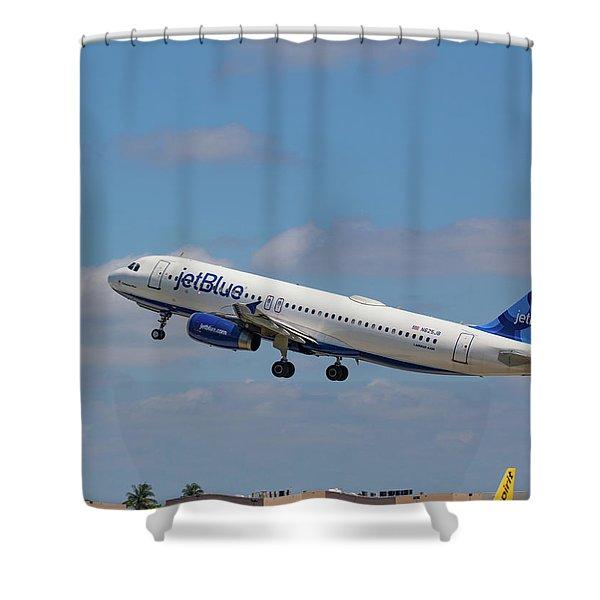 N625jb Jetblue At Fll Shower Curtain