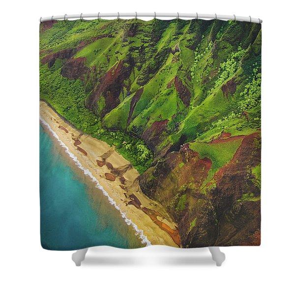 Na Pali Coast Aerial Shower Curtain