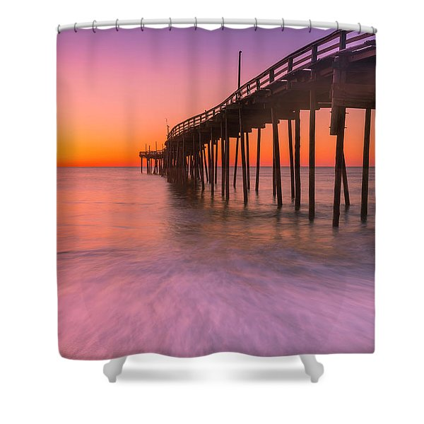 Shower Curtain featuring the photograph Nags Head Avon Fishing Pier At Sunrise by Ranjay Mitra
