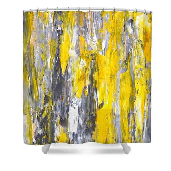 Nailed It - Grey And Yellow Abstract Art Painting Shower Curtain