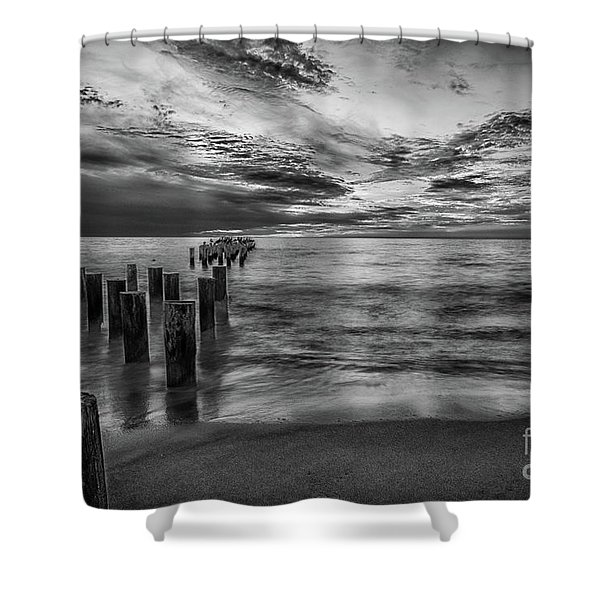 Naples Sunset In Black And White Shower Curtain