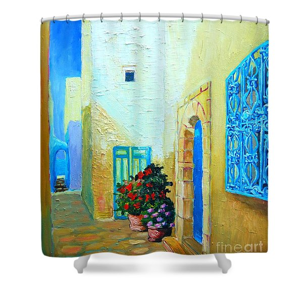 Narrow Street In Hammamet Shower Curtain