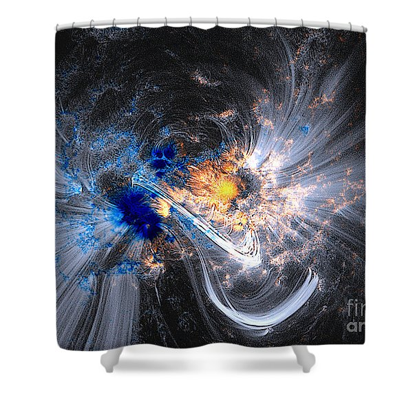 Nasa Coronal Loops Over A Sunspot Group Shower Curtain