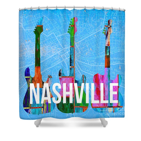Nashville Guitars Music Scene Shower Curtain