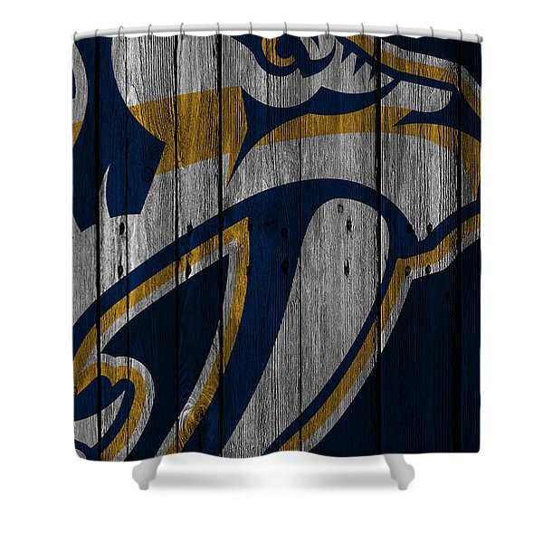 Nashville Predators Wood Fence Shower Curtain