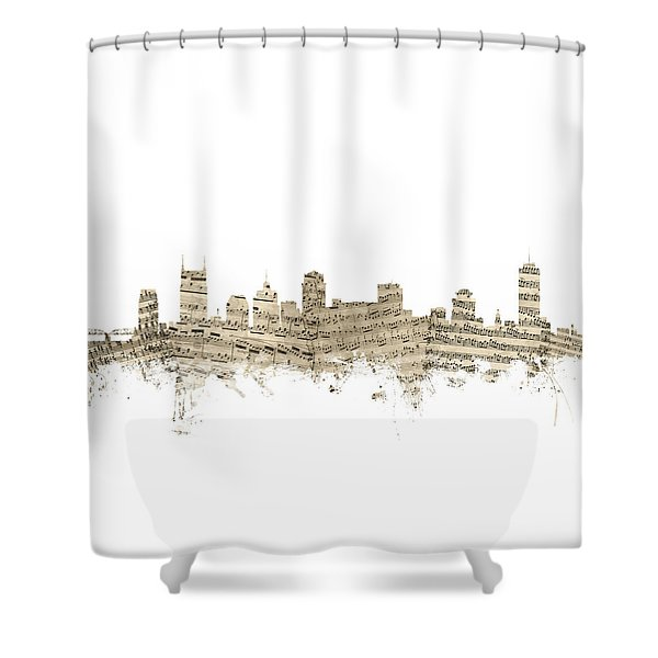 Nashville Tennessee Skyline Sheet Music Shower Curtain