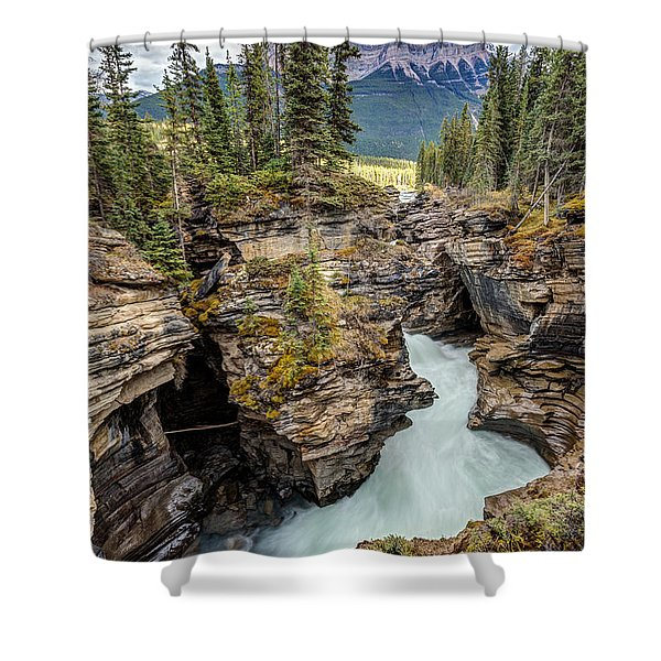 Natural Flow Of Athabasca Falls Shower Curtain