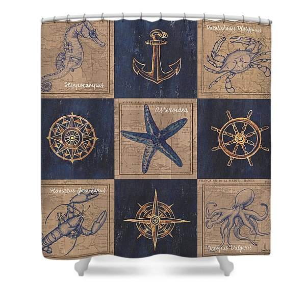 Nautical Burlap Shower Curtain