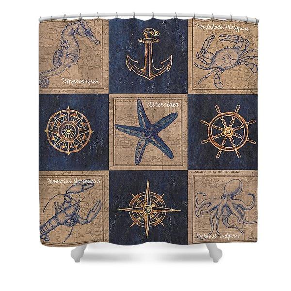 Nautical Burlap Shower Curtain