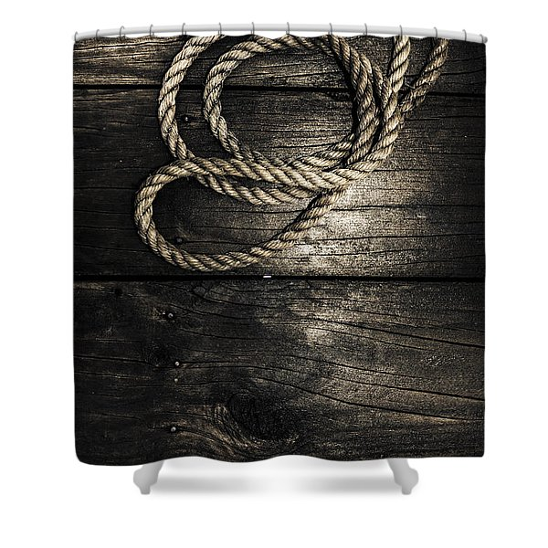 Nautical Rope On Boat Deck. Maritime Knots Shower Curtain