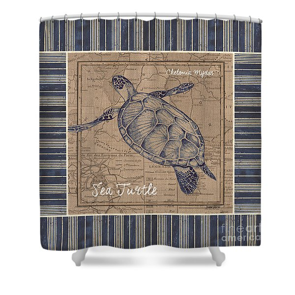 Nautical Stripes Sea Turtle Shower Curtain