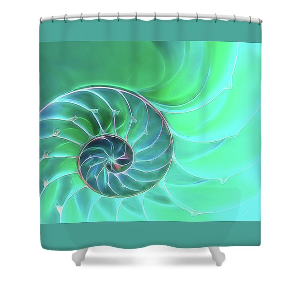 Nautilus Aqua Spiral Shower Curtain