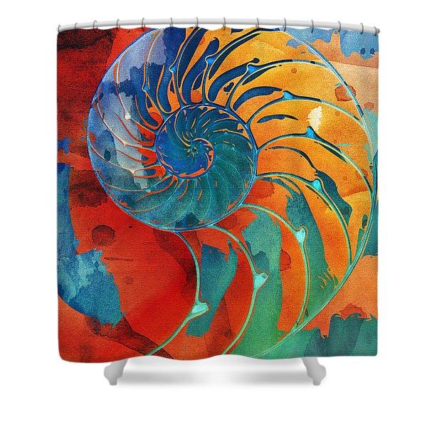 Nautilus Shell Orange Blue Green Shower Curtain