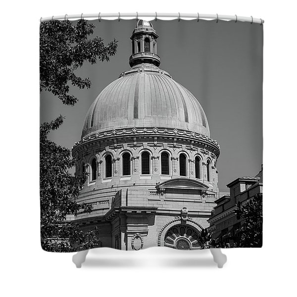 Naval Academy Chapel - Black And White Shower Curtain