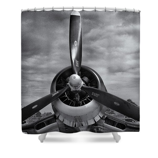 Navy Corsair Propeller Shower Curtain by Roger Wedegis