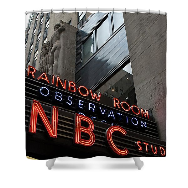Nbc Studio Rainbow Room Sign Shower Curtain