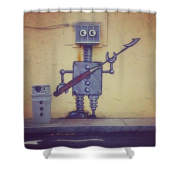 Street Art Robot Shower Curtain
