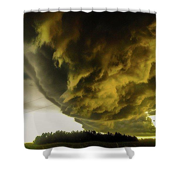 Shower Curtain featuring the photograph Nebraska Supercell, Arcus, Shelf Cloud, Remastered 018 by NebraskaSC